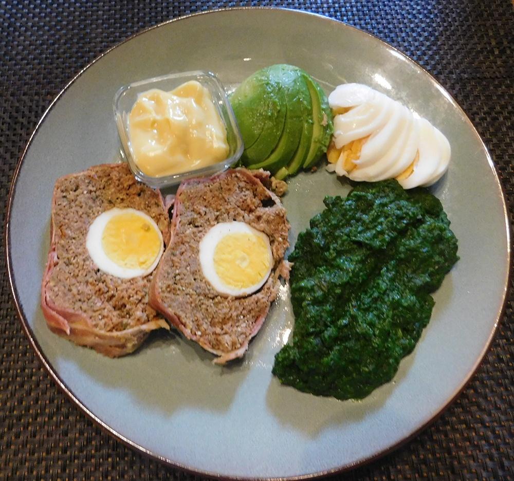 Spinazie Gehaktbrood Ei Avocado - Weekmenu recept voor het avondeten - Ketogeen dieet Keto voor Beginners Nederland België